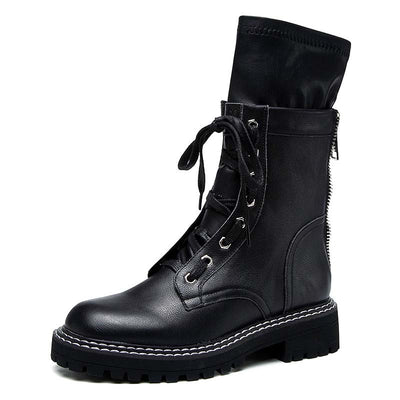 2019 new black mid boots back zipper leather Martin boots