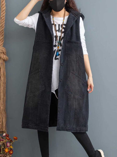 2019 winter quilted sleeveless sand wash solid color old hooded cowboy art cotton vest