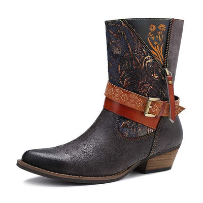 New casual leather printing retro classic high-grade flat with short cowboy boots women's boots