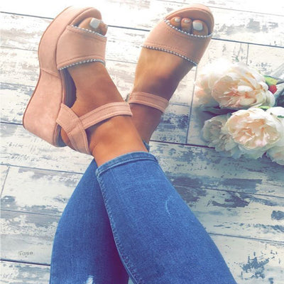 Solid color matte wedge heel high heel buckle fashion sandals tide