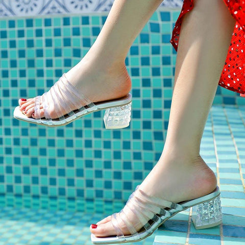 Euro-American PVC Hollow Chunky Heel Open Toe Sandals