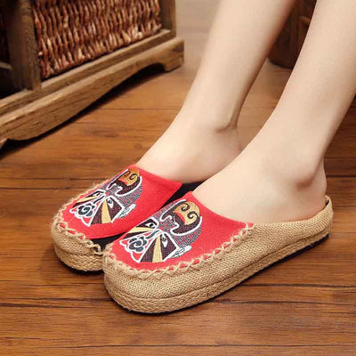 Face embroidered big head embroidery linen straw handmade shoes