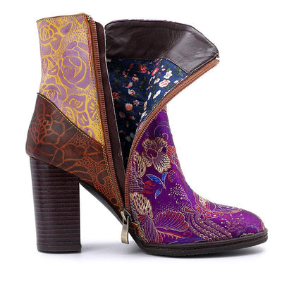Purple Silk Color Block Leather Beads Chunky Heel Ankle Boots