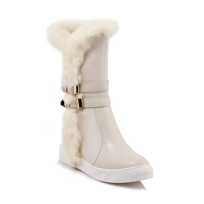 2019 autumn and winter new leather thickening velvet rabbit fur warm cotton boots snow boots