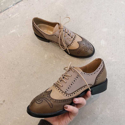 British retro thick heel college style leather brogue shoes