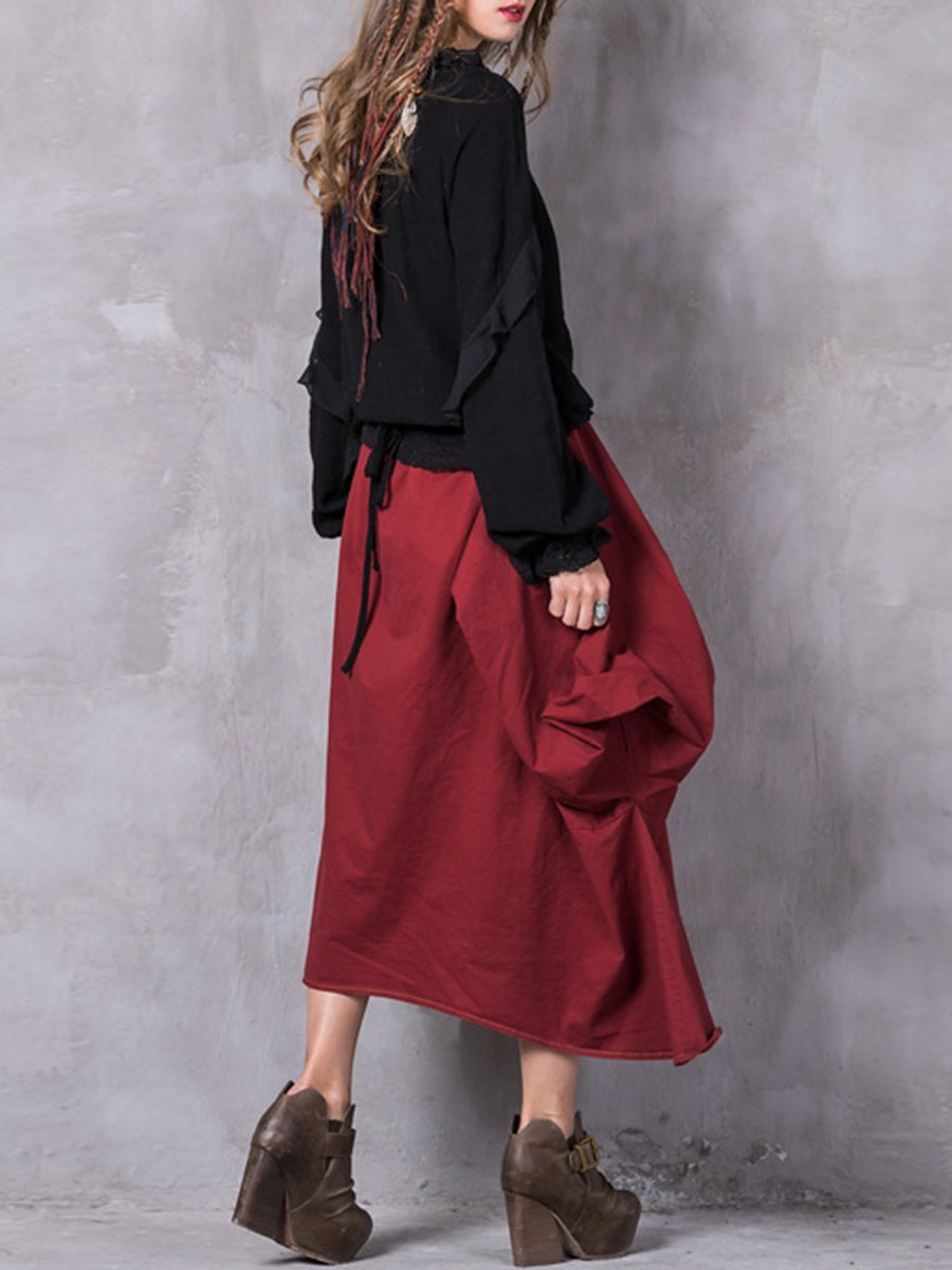 Solid Color Bowknot Belt Asymmetric Pleated Cotton Patchwork Skirts