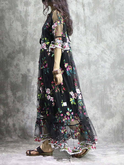 Bohemian Embroidery Short Sleeve Round Neck See-Through Maxi Dresses