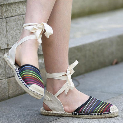 Casual Lace Floral Lace-Up Back Flat Heel Sandals