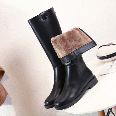 2019 autumn and winter fashion wild flat long tube boots leather boots