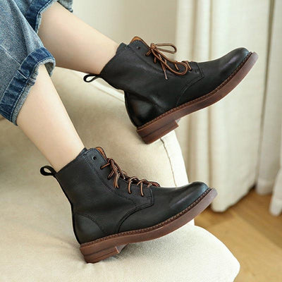New England retro leather short tube flat leather booties color round Martin boots 02