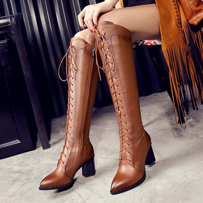 2019 winter new leather high heel over the knee strap long tube high tube rider boots