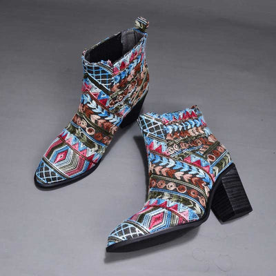 Thick and pointed wool embroidery individual comfort sleeve single boots