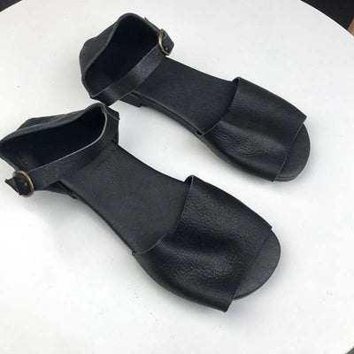 Handmade leather fish mouth sandals-2
