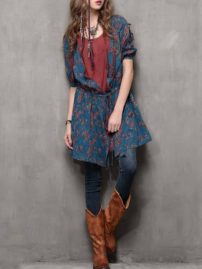Bohemian Patchwork Floral Pleated Lace-Up Asymmetric Buttons Blouses
