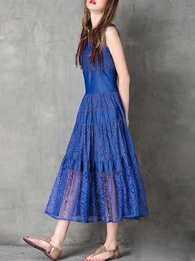 Sexy Solid Color Hollow See-Through Round Neck Sleeveless Lace Dresses