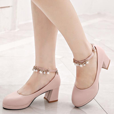 One-button buckle with waterproof platform high heels