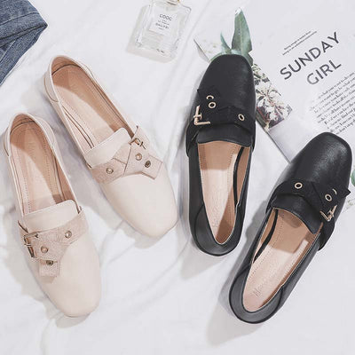 British style square head fashion wild flat Lok Fu single shoes