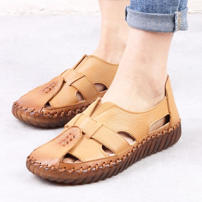 Solid Color Large Size Hollow Leather Flat Heel Round Toe Sandals