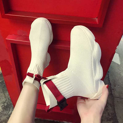 Flying woven elastic casual boots sneakers