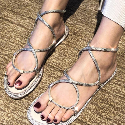 Fashion Cross Straps Rhinestone Chunky Heel Sandals