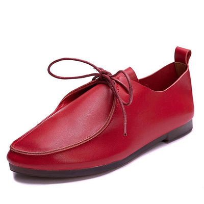 Solid Color Round Toe Leather Lace-Up Flat Heel Loafers