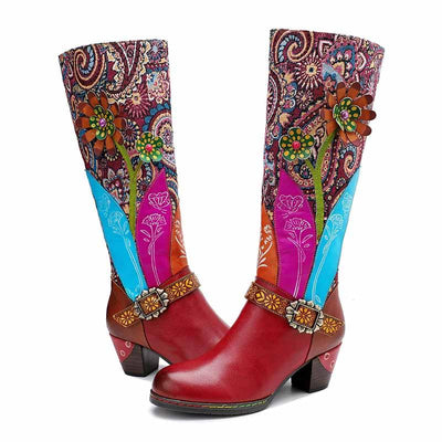 Autumn and winter new casual retro leather women's boots handmade knee-high women's boots