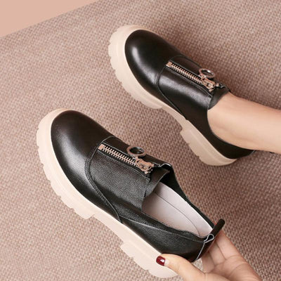 Solid Color Leather Round Toe Mid Heel Zipper Patchwork Loafers