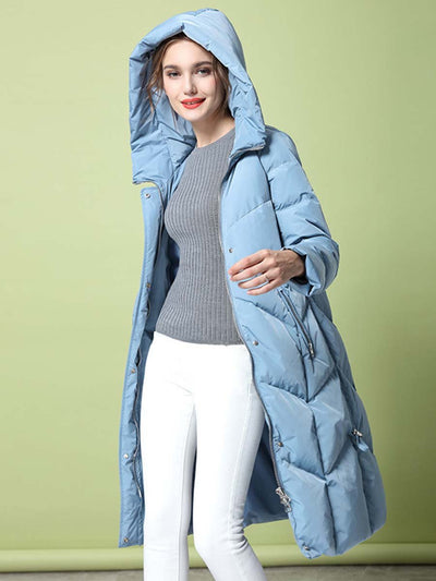 2019 autumn and winter new fashion solid color hooded zipper long white duck down ladies down jacket
