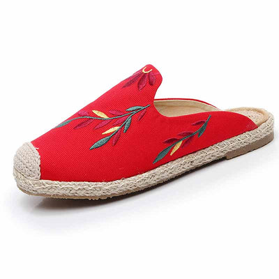 Embroidered leaves, baotou, straw, straw fisherman's shoes