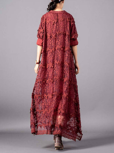 Embroidery Stand Collar See-Through Long Sleeve Flower Lace Dresses