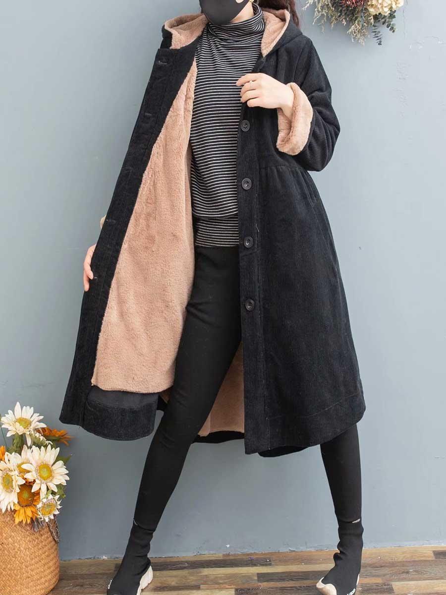 2019 high quality cashmere warm corduroy net color hooded ladies winter coat coat braid