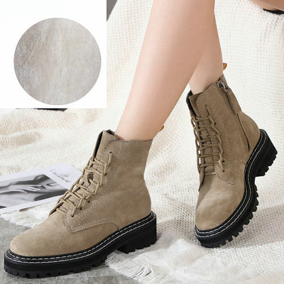 Martin boots female 2019 autumn and winter new wild leather British wind knight thick-soled motorcycle boots
