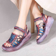 Vintage Purple Sequins Hollow Velcro Platform Open Toe Sandals