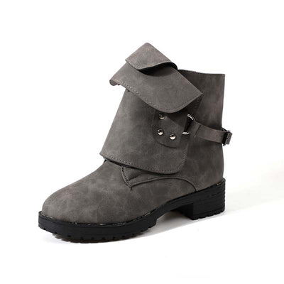 Tide brand autumn and winter new flat rivet retro knight ankle boots