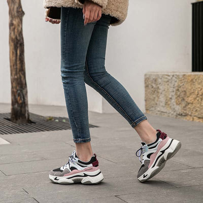 2020 spring new leather thick sole increased trend plus velvet ladies sneakers
