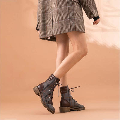 2019 early autumn new versatile leather thick with British wind short boots