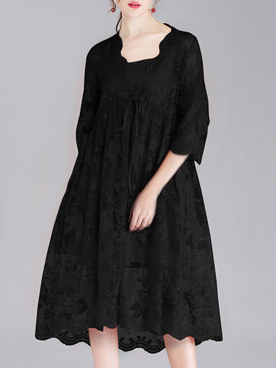 Sexy Plus Size See-Through Half Sleeve V-Neck Bowknot Lace Dresses