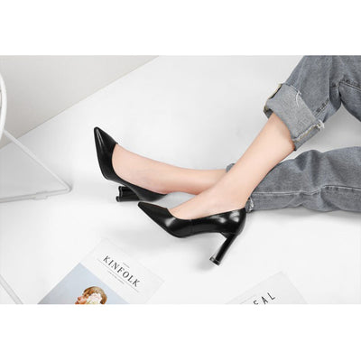 Solid color thick with high heel women's shoes