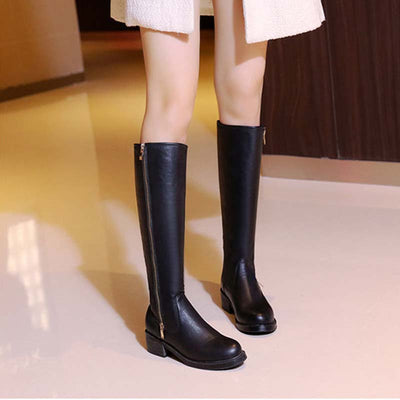 Winter new flat bottom high boots women's thick bottom side zipper plus velvet Martin boots