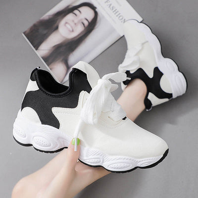 Autumn new flat-heeled mid-port casual shoes wild round toe low-top sports women's shoes