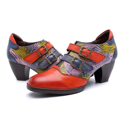 Patchwork Belt Buckle Leather Slip-On Print Chunky Heel Pumps