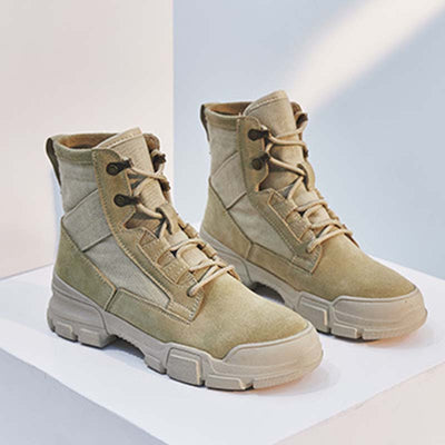 2019 new solid color stitching leather high-top Martin boots