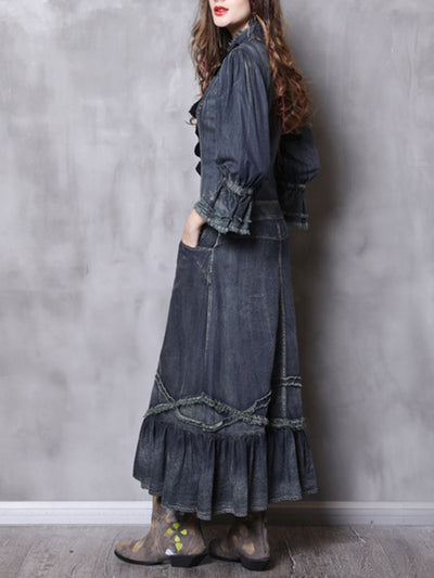 Stand Collar Long Sleeve Lace Patchwork Ruffle Buttons Denim Dresses