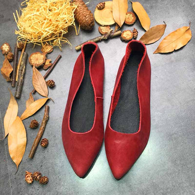 Leather flat shoes mother shoes
