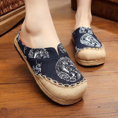 Original ethnic style dragon totem handmade cotton and linen slippers