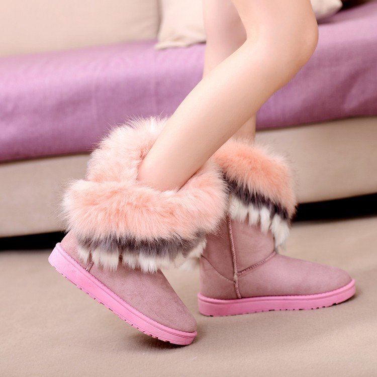 Snow boots fashion women's plush thick warm cotton boots suede flat-bottomed lightweight mid-top boots