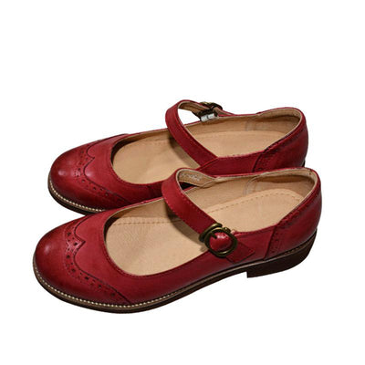 Classic British Style Solid Color Patchwork Buckle Strap Leather Loafers