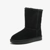 Fur one snow boots female 2019 winter leather ladies high boots non-slip thickening wild women's boots cotton shoes