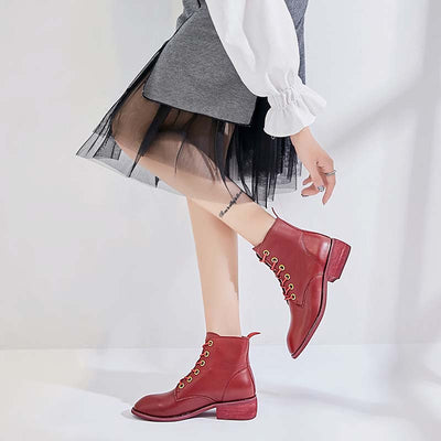 2019 autumn low tube leather wild thick heel Martin boots female