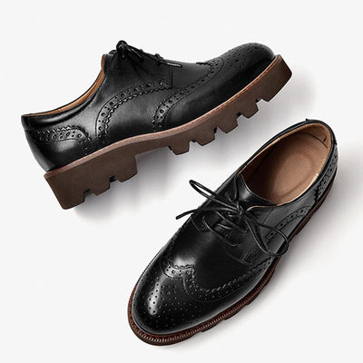 Spring new Brock thick heel retro small leather shoes thick bottom Oxford shoes single shoes women's shoes